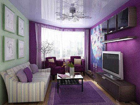 Вариант комбинации фиолетовой отделки стен