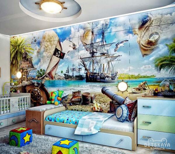 Вариант оформления детской комнаты с использованием обоев соответствующего вида