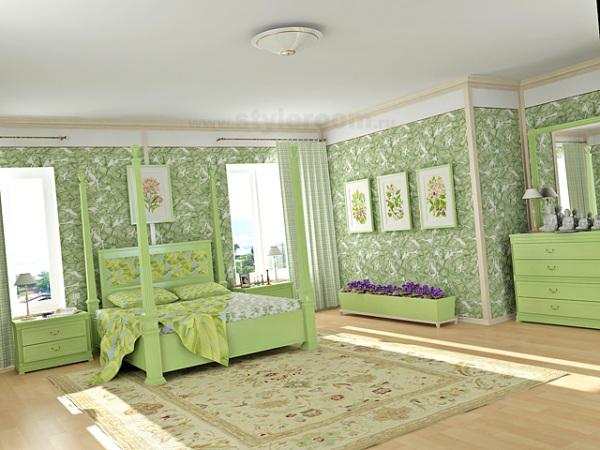 Вариант оформления спальни с использованием покрытия и мебели одного цвета