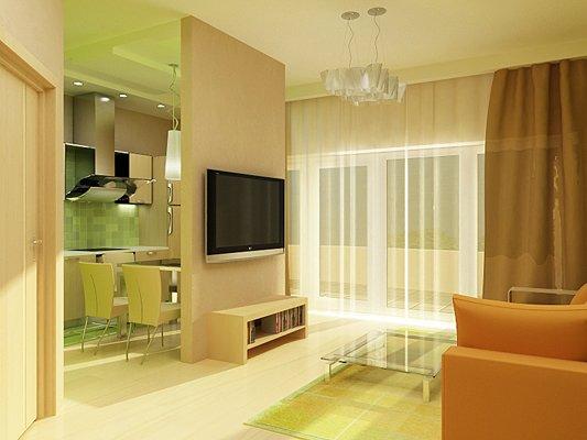 Вариант зонирования пространства в однокомнатной квартире.