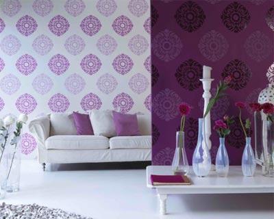 Варианты использования фиолетовых обоев в интерьере