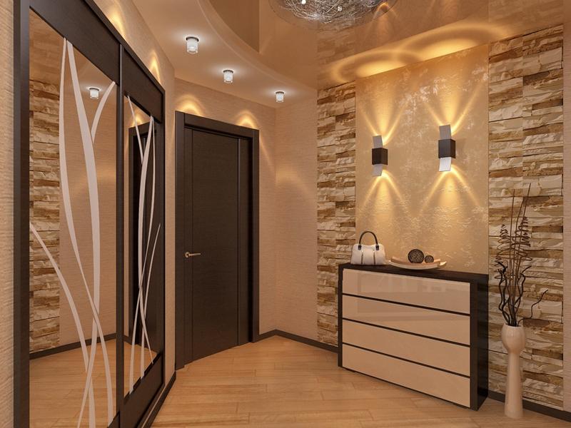 Варианты отделки стены в прихожей настолько разнообразны, что размер помещения абсолютно неважен