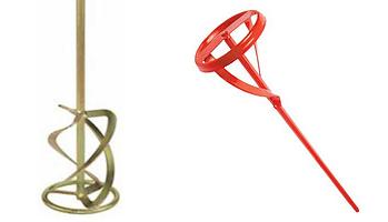 Виды миксеров: слева – для шпаклёвки, справа – для ЛКМ