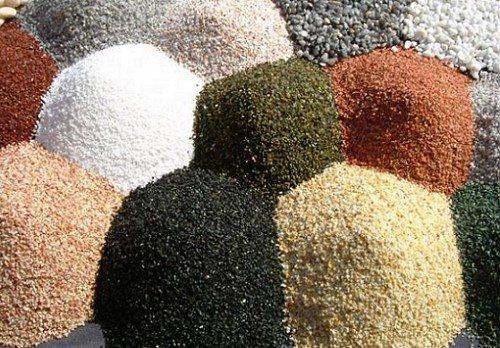 Виды наполнителей с разным размером зерна