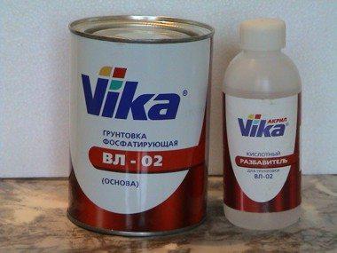 ВЛ-02 смешивается с кислотным разбавителем непосредственно перед применением.