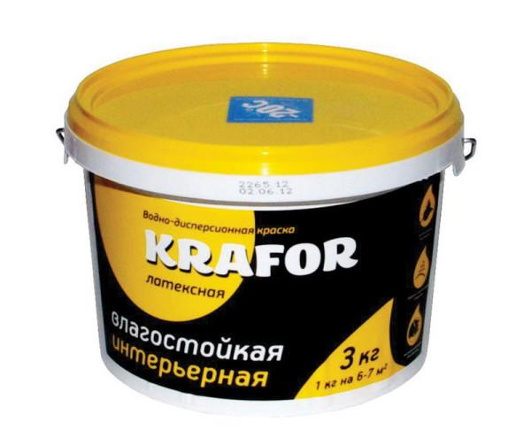 Влагостойкая латексная интерьерная краска Krafor
