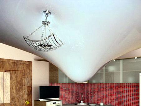 Вот так натяжной потолок защищает комнату от протекающей крыши