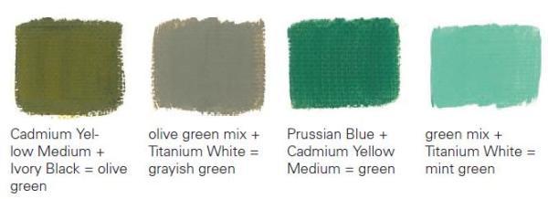 Возможные оттенки зелёного цвета