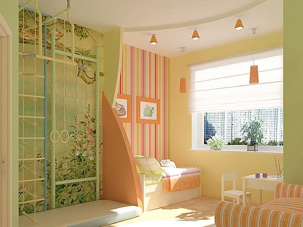 Вы можете наклеить в комнату детей даже принципиально разные по рисунку обои, что поможет в планировке пространства (фото «А»)