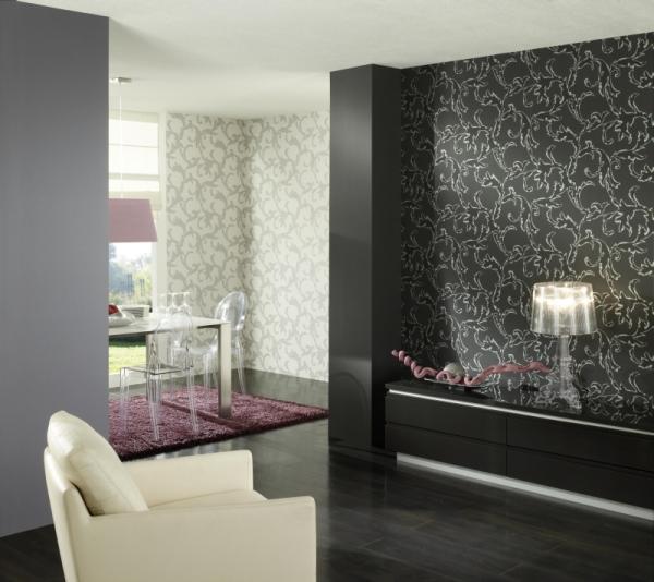 Выбор таких обоев будет полностью оправдан, если сыграть на контрасте – одна стена и мебель в оттенках белого, другая стена и пол – черного («В»)