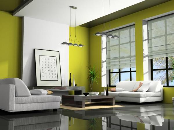Яркие вставки белого цвета и белая мебель оттеняют оливковые обои на стенах
