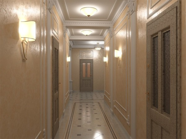 Яркое освещение придаст узкому коридору дополнительный видимый объем.