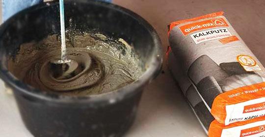 Замес цементно-песчаной смеси