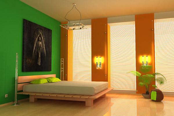 Здесь мы видим пример использования взаимодополняющих цветов: оранжевого и зеленого.