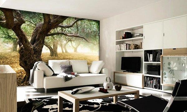 Зрительный центр комнаты - фотообои на одной из стен. Однотонное покрытие остальной части помещения не отвлекает от них внимание зрителя.